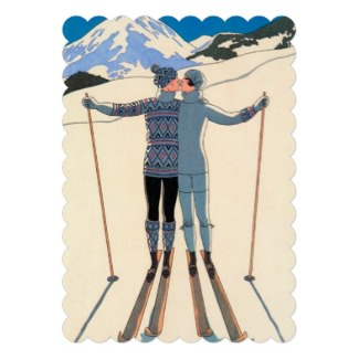 vintage ski couple wedding invitations
