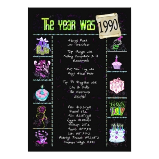 1990 Birthday Party Invitation