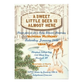 Vintage winter woodland baby shower invitation.