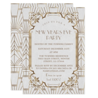 1920s new years eve invitations