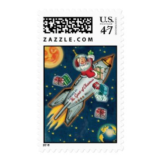 Space Age Santa on Rocket Stamps