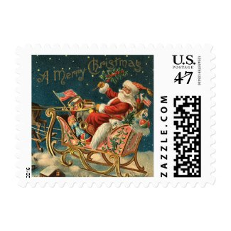 Santa in Sleigh Christmas Stamps