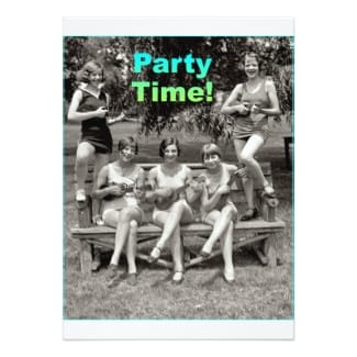 Ukulele party invitations featuring 5 women in vintage swimsuits.
