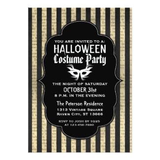 Vintage Halloween Costume Party Invitations Retro Invites