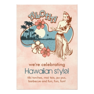 Retro Hawaiian Luau Invitation