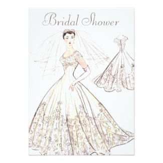 Modern Retro Bride and Gown 1950's Style Shower Invitations