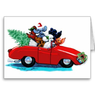 Red Sports Car with Poodles Christmas Card
