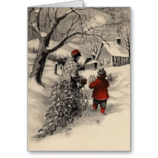 Vintage Bring Home the Tree Christmas Card