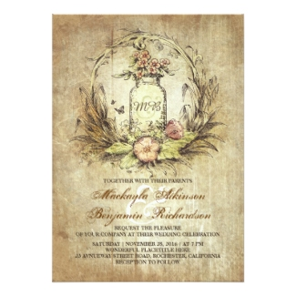 Rustic Vintage Floral Wedding Invitations