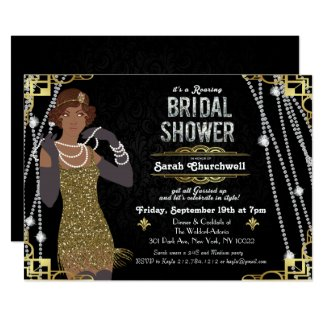 roaring 20's, Flapper, Art Deco, or Great Gatsby bridal shower invitation