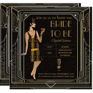roaring 20's, Flapper, Art Deco, or Great Gatsby bridal shower invite