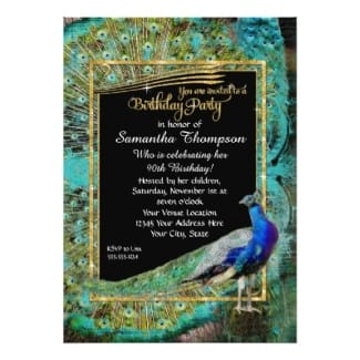 Art Deco Peacock Birthday Invite