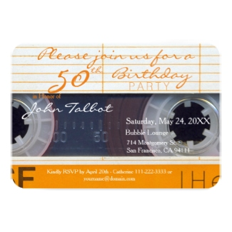 Audio Cassette tape 50th Birthday Party Invitations