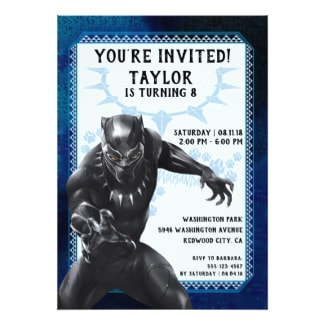 Personalized Black Panther Birthday Invitations