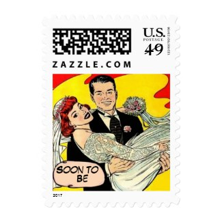 Custom and personalized retro save the date postage
