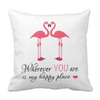 Flamingos in Love Pillow