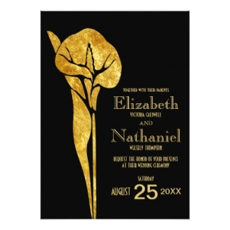 Gold Calla Lily Art Deco Wedding Invitation