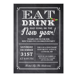 toast the new year new years eve invitation
